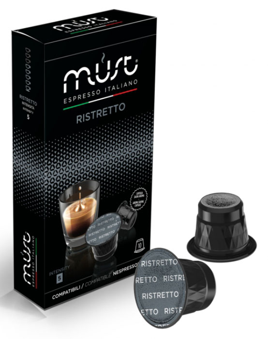 MUST Ristretto кофе капсульный, 10 шт8056370761036Маленький глоток кофейного рая – Ristretto, определенно не покажется вам обычным эспрессо. Насыщенный и контрастный, этот короткий капсульный эспрессо оставляет во рту изысканный вкус обжаренного кофе с древесными нотками.MUST Ristretto имеет кисло-сладкий и сливочный вкус и аромат с четкими нотками темного шоколада, миндаля и фруктов. В результате получается кофе, который отлично сочетают в себе сладость, интенсивность и плотность.Уважаемые клиенты! Обращаем ваше внимание на то, что упаковка может иметь несколько видов дизайна. Поставка осуществляется в зависимости от наличия на складе.