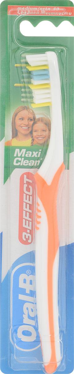 Oral-B Зубная щетка 3-Effect Maxi Clean, средней жесткости, цвет белый, оранжевый4630003365187Зубная щетка Oral-B 3-Effect Maxi Clean чистит зубы с помощью волнистой щетины (чистит лучше, чем зубная щетка с ровно подстриженной щетиной). Бережно относится к деснам. Помогает укреплять зубы. Чистка два раза в день с фторосодержащей зубной пастой помогает укрепить зубную эмаль.Состав изделия: щетинки - полиамид, ручка щетки - полипропилен и термопластичный эластомер.Товар сертифицирован.