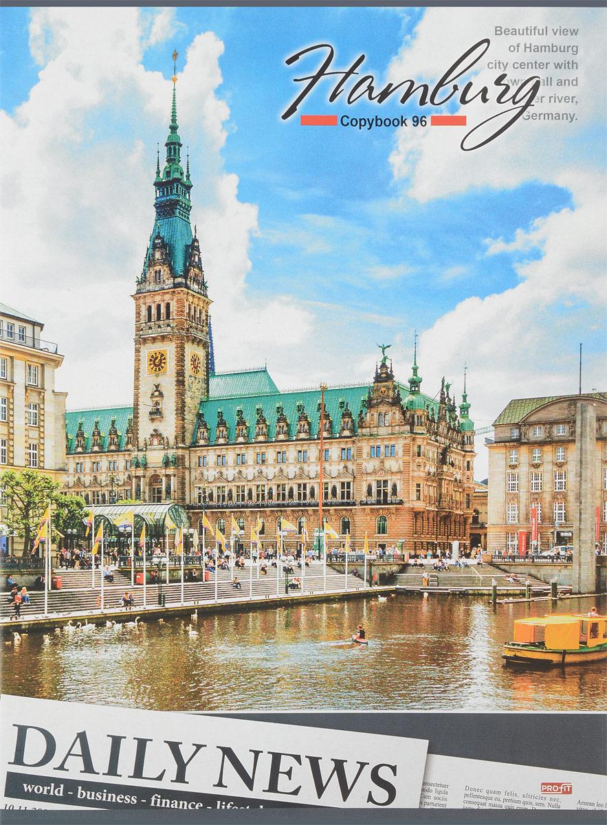 Проф-Пресс Тетрадь Hamburg 96 листов в клетку72523WDТетрадь Проф-Пресс Hamburg формата А4 отлично подойдет как школьнику, так и студенту. Обложка тетради выполнена из плотного картона и украшена изображением немецкого города Гамбурга.Внутренний блок тетради на двух металлических скрепках состоит из 96 листов белой бумаги с линовкой в клетку голубого цвета без полей.