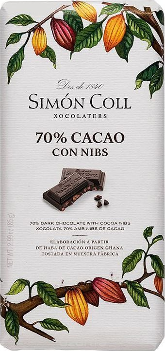 Amatller шоколад Симон Колл горький 70% какао с ядрами какао-бобов, 85 гК5567Шоколад Симон Колл горький 70% какао с ядрами какао-бобов с высоким содержанием какао. Для тех, кто знает толк в горьком шоколаде, компания выпустила специальную линейку плиток с высоким содержанием какао. Вкус такого шоколада более аутентичен, а плитка с кусочками ядер какао и вовсе переносит вас в тропики. Пищевая ценность в 100 г продукта: белки 10 г, углеводы 24 г, жиры 44 г.