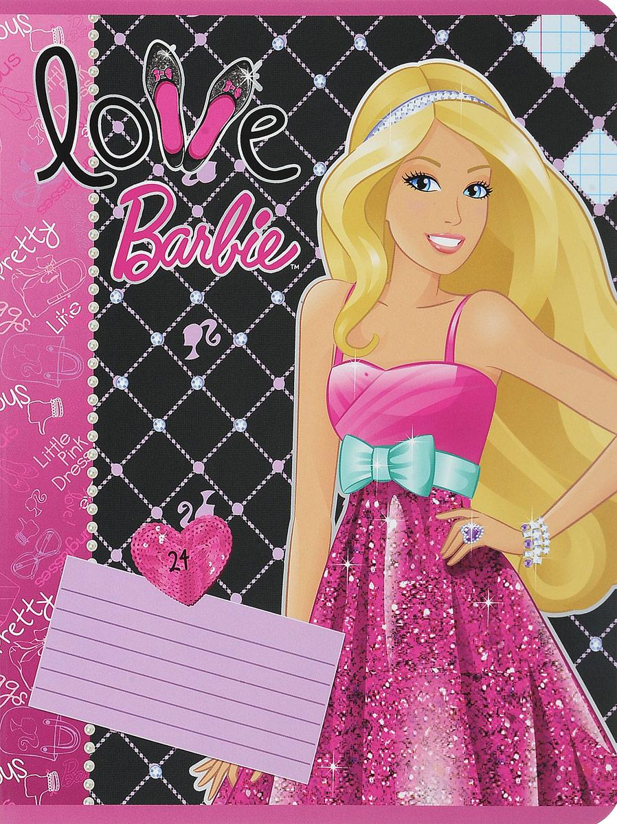 Barbie Тетрадь 24 листа в клетку цвет малиновый бирюзовый72523WDТетрадь Barbie с красочным дизайном предназначена для младших школьниц.Обложка тетради выполнена из картона с закругленными углами и украшением изображением красавицы Барби.Внутренний блок тетради состоит из 24 листов белой бумаги на двух металлических скрепках, разлинованных в клетку с полями.