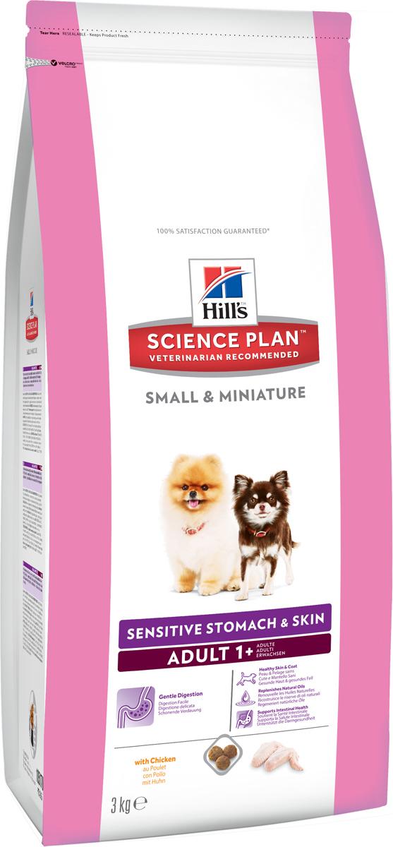 Корм сухой для собак миниатюрных размеров Hills Science Plan Canine Adult 1+ Small & Miniature Sensitive Stomach&Skin, чувстительный желудок и кожа, курица, 3 кг0120710Hill's Science Plan - это полноценное, точно сбалансированное питание, приготовленное из ингредиентов высокого качества, без добавления красителей и консервантов. Каждый рацион Science Plan содержит эксклюзивный комплекс антиоксидантов с клинически подтвержденным эффектом для поддержки иммунной системы Вашего питомца.Если вы решили перевести вашу собаку на рацион Hills Science Plan, это необходимо сделать постепенно в течение 7 дней. Смешивайте прежний корм с новым, постоянно увеличивая долю последнего до полного перехода на Hills Science Plan. Тогда ваш питомец сможет в полной мере насладиться вкусом и преимуществами превосходного питания, которое обеспечивает рацион Hills Science Plan.Рекомендуется- Собакам от 1 года мелких и миниатюрных пород для улучшения работы пищеварительного тракта и поддержания здоровья кожиНе рекомендуется- Кошкам- Щенкам- Беременным и лактирующим сукам. В течение беременности и лактации суку необходимо перевести на рацион для щенков Science Plan Puppy Small & Miniature.Ключевые преимущества- Содержание мяса птицы 34% - ингредиент №1 - Контролируемое содержание протеина, кальция, фосфора и натрия обеспечивает точный баланс питательных веществ для крепкого здоровья. Не допускает избытка нутриентов, который может навредить здоровью.- Высокое содержание омега-3, 6 -жирных кислот поддерживает низкий уровень медиаторов воспаления, улучшает состояние кожи и шерсти- Высокое содержание протеинов обеспечивает необходимыми питательными веществами, улучшающими рост шерсти и здоровье кожи.- Хорошо измельченные злаки улучшают пищеварение и всасывание нутриентов- Уникальная смесь клетчатки для поддержания здоровья ЖКТ - Растворимая клетчатка (из волокон овса и свекольной пульпы) служит источником короткоцепочных жирных кислот, которые питают клетки кишечника и поддерживают нормальную микр