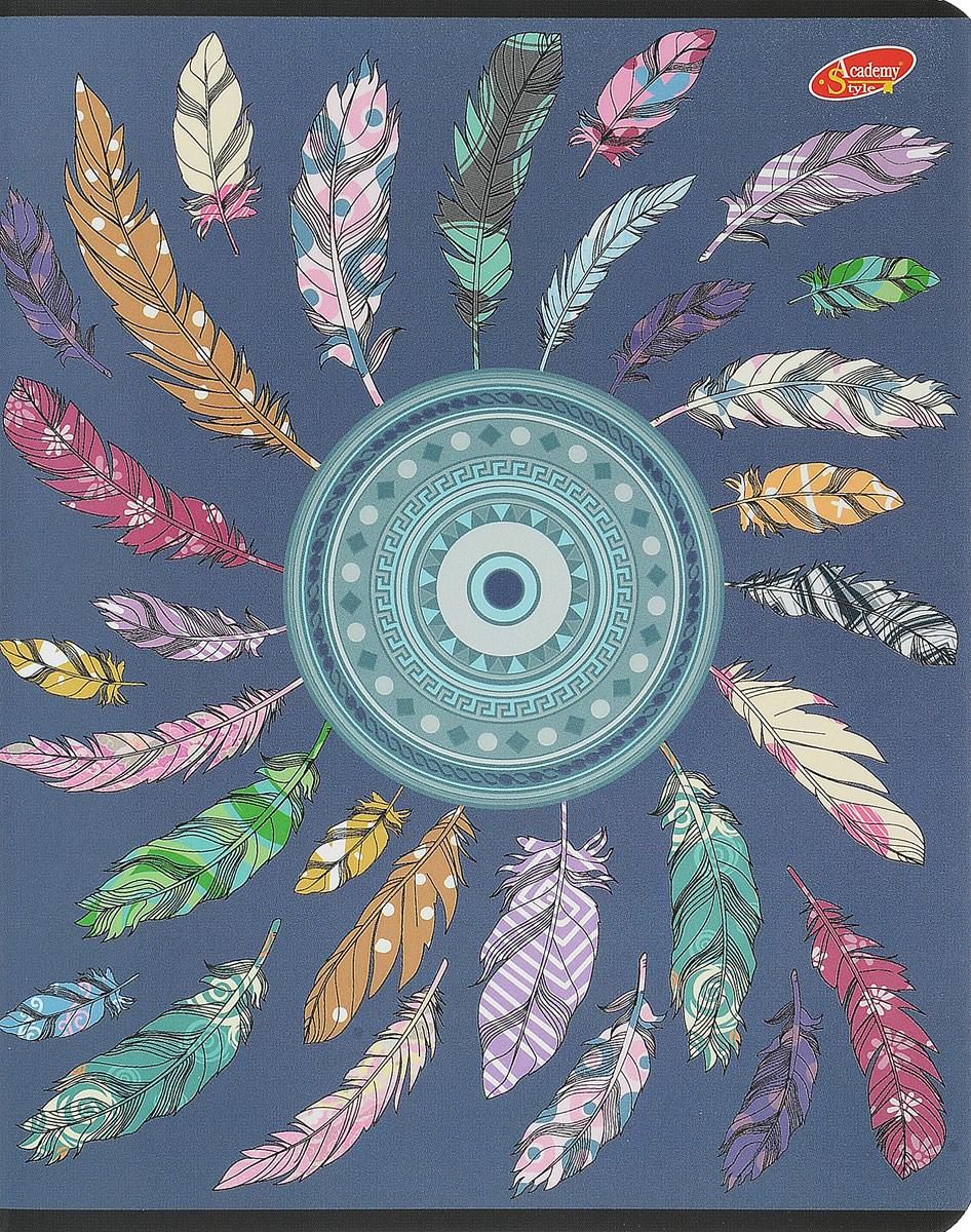 Тетрадь Academy Style Перья подойдет как школьнику, так и студенту. Обложка тетради выполнена из картона с закругленными углами и дополнена красочным изображением. Внутренний блок состоит из 96 листов белой бумаги. Стандартная линовка в голубую клетку дополнена полями. Листы тетради соединены металлическими скобами.
