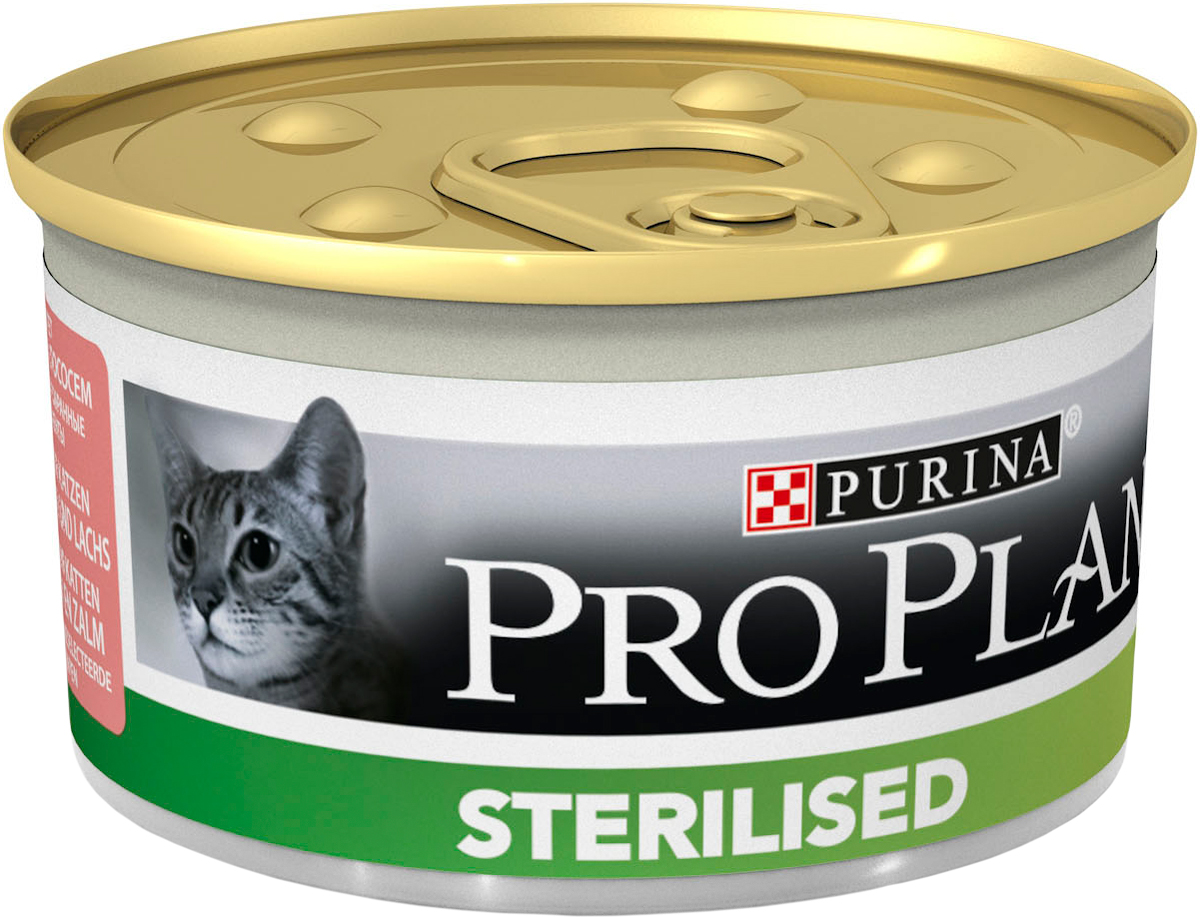 Консервы Pro Plan Sterilised для стерилизованных кошек и кастрированных котов, паштет с тунцом и лососем, 85 г0120710Консервы Pro Plan Sterilised - полнорационный консервированный корм для стерилизованных кошек и кастрированных котов. Паштет с тунцом и лососем. Тщательно отобранные ингредиенты. Состав: мясо и продукты переработки, рыба и продукты переработки (4% тунца, 4% лосося), минеральные вещества, витамины, сахара, продукты переработки растительного сырья. Добавленные вещества (на 1 кг): витамин А 1520 МЕ; витамин D3 210 МЕ; железо 44 мг; йод 0,85 мг; медь 5,4 мг; марганец 7,8 мг; цинк 107 мг; селен 0,071 мг. Технологические добавки: камедь кассии 1940 мг/кг. С консервантами.Гарантируемые показатели: влажность 77%, белок 13%, жир 4,5%, сырая зола 3%, сырая клетчатка 0,35%. Товар сертифицирован.