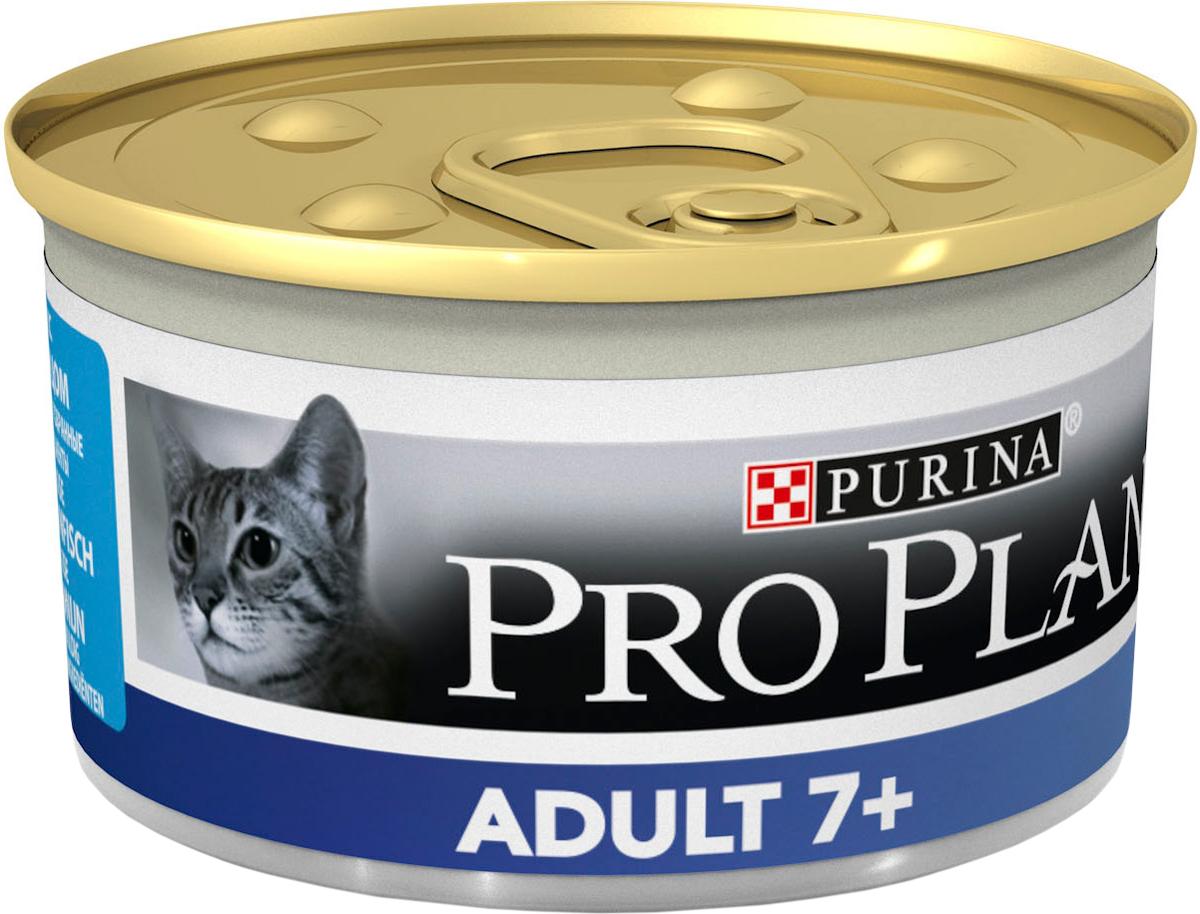 Консервы для пожилых кошек Pro Plan Adult 7+, мусс с тунцом, 85 г0120710Консервы для кошек Pro Plan Light - полнорационный консервированный корм для пожилых кошек старше 7 лет. Мусс с тунцом. Тщательно отобранные ингредиенты. Особенности: - помогает поддерживать основные жизненные функции (иммунную, почечную и пищеварительную), баланс микрофлоры кишечника для здорового пищеварения, - сбалансированное содержание минеральных веществ для здоровой мочевыводящей системы - подходит для кормления стерилизованных кошек и кастрированных котов.Состав: мясо и субпродукты, рыба и продукты переработки рыбы (из которых 4% тунец), овощи, масла и жиры, минеральные вещества, продукты переработки овощей, сахара. Добавленные вещества (на 1 кг): витамин А 1740 МЕ; витамин D3 245 МЕ; железо 16 мг, йод 0,59 мг; медь 1,5 мг; марганец 2,8 мг; цинк 40,4 мг; селен 0,032 мг. С консервантами. Гарантируемые показатели: влажность 75%, белок 10,2%, жир 9,4%, сырая зола 2,8%, сырая клетчатка 0,2%. Товар сертифицирован.
