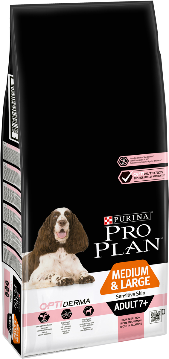 Корм сухой Pro Plan Senior Sensitive, для стареющих собак с чувствительным пищеварением, с лососем и рисом, 14 кг0120710Сухой корм Pro Plan Senior Sensitive - полнорационный корм для взрослых собак старше 7 лет средних и крупных пород с чувствительной кожей. Здоровая кожа - необходимое условие для общего здоровья собаки старше 7 лет. Корма Sensitive для собак с чувствительным пищеварением сводят к минимуму количество источников белка в пище животного, снижая вероятность развития отрицательных пищевых реакций. В состав корма Pro Plan Senior Sensitive входят ингредиенты высшего качества при ограниченном числе источников белка (лосось, кукуруза и рис), что может стать хорошим выбором для собак с чувствительным пищеварением. В составе корма отсутствует пшеница, соя и говядина - наиболее распространенные источники белка в пищевых продуктах, с чем связана более высокая вероятность развития аллергической реакции на эти ингредиенты. Изготовленный на основе лосося и не содержащий иных источников животных белков, с покрытием гранул корма, отличающимся высокими вкусовыми качествами, корм Pro Plan Senior Sensitive способствует снижению вызванных чувствительным пищеварением отрицательных кожных реакций. Состав: лосось (17%), рис (17%), дегидрированные белки лосося (15%), кукуруза, кукурузная мука, кукурузный глутен, животные жиры (консервированные добавкой токоферолов), гидролизованный дигест, свекольная пульпа, очищенные целлюлозные волокна, фосфат кальция, хлорид калия, микроэлементы. Сульфат меди (медь = 12 мг/кг), сульфат цинка (цинк = 180 мг/кг). Антиоксидант: обогащенный токоферолом природный экстракт. Витамин А: 21000 Ед/кг; Витамин D3 1600 Ед/кг; Витамин E: 300 мг/кг; Витамин C: 70 мг/кг.Товар сертифицирован.