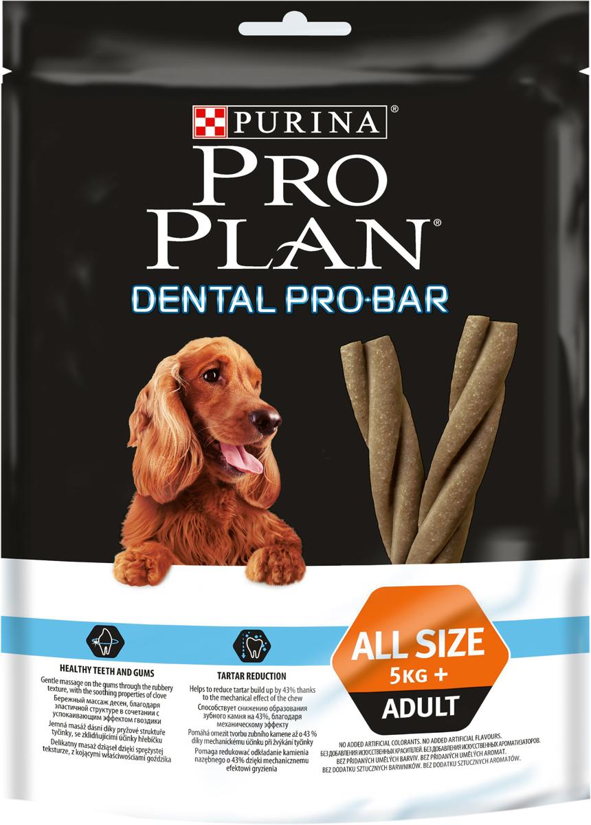 Снеки для собак Pro Plan Dental Pro Bar, для поддержания здоровья полости рта, 150 г0120710Снеки для поддержания здоровья полости рта Pro Plan Dental Pro Bar снижают образование зубного камня на 43%. Мягко массирует десна благодаря эластичной структуре и успокаивающему эффекту гвоздики. Помогает зубам и костям оставаться крепкими благодаря сбалансированному содержанию минералов. Поддерживает хорошее пищеварение благодаря рису - основному источнику углеродов.Состав: рис 40%, сухой белок птицы, хлорид натрия, пшеница, ортофосфат кальция, животный жир, вкусоароматическая кормовая добавка, гвоздика (порошок, 0,2%), бентонит 1,6%, антиокислители.Содержание питательных веществ: сырой белок 9%, сырой жир 3%, сырая зола 12%, сырая клетчатка 1,5%, кальций 1,3%, фосфор 0,9%.Товар сертифицирован.