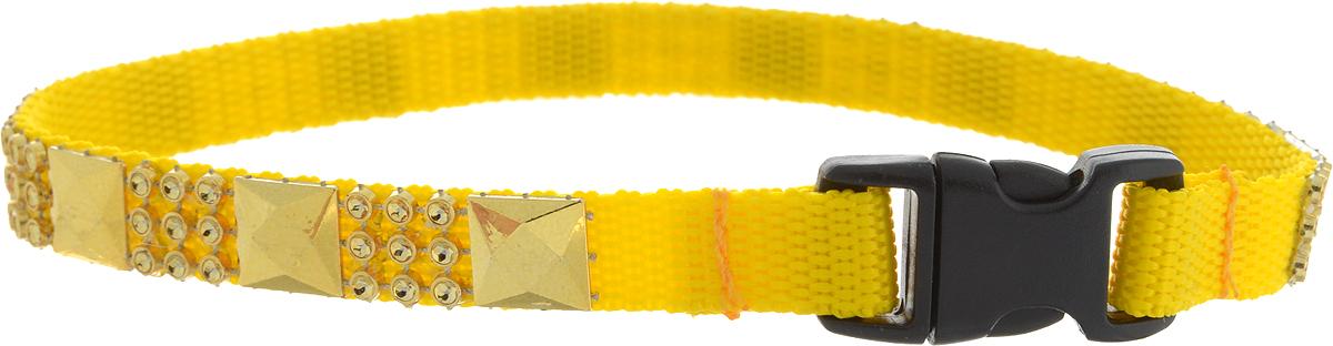 Ошейник для животных GLG Индия, цвет: желтый, золотой, ширина 1 см, обхват шеи 28 см0120710Ошейник для животных GLG Индия с оригинальным дизайном изготовлен из нейлона и высококачественного пластика. Сверхпрочные нити делают ошейник надежным и долговечным. Ошейник отличается высоким качеством, удобством и универсальностью.Обхват шеи: 28 см. Ширина ошейника: 1 см.