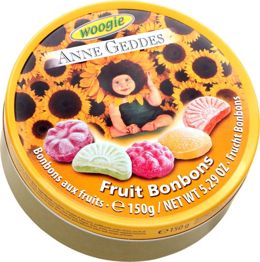 Woogie Anne Geddes фруктовое ассорти леденцы, 150 г0120710Леденцы со вкусом апельсина, абрикоса, вишни, малины, смородины, лимона и клубники.