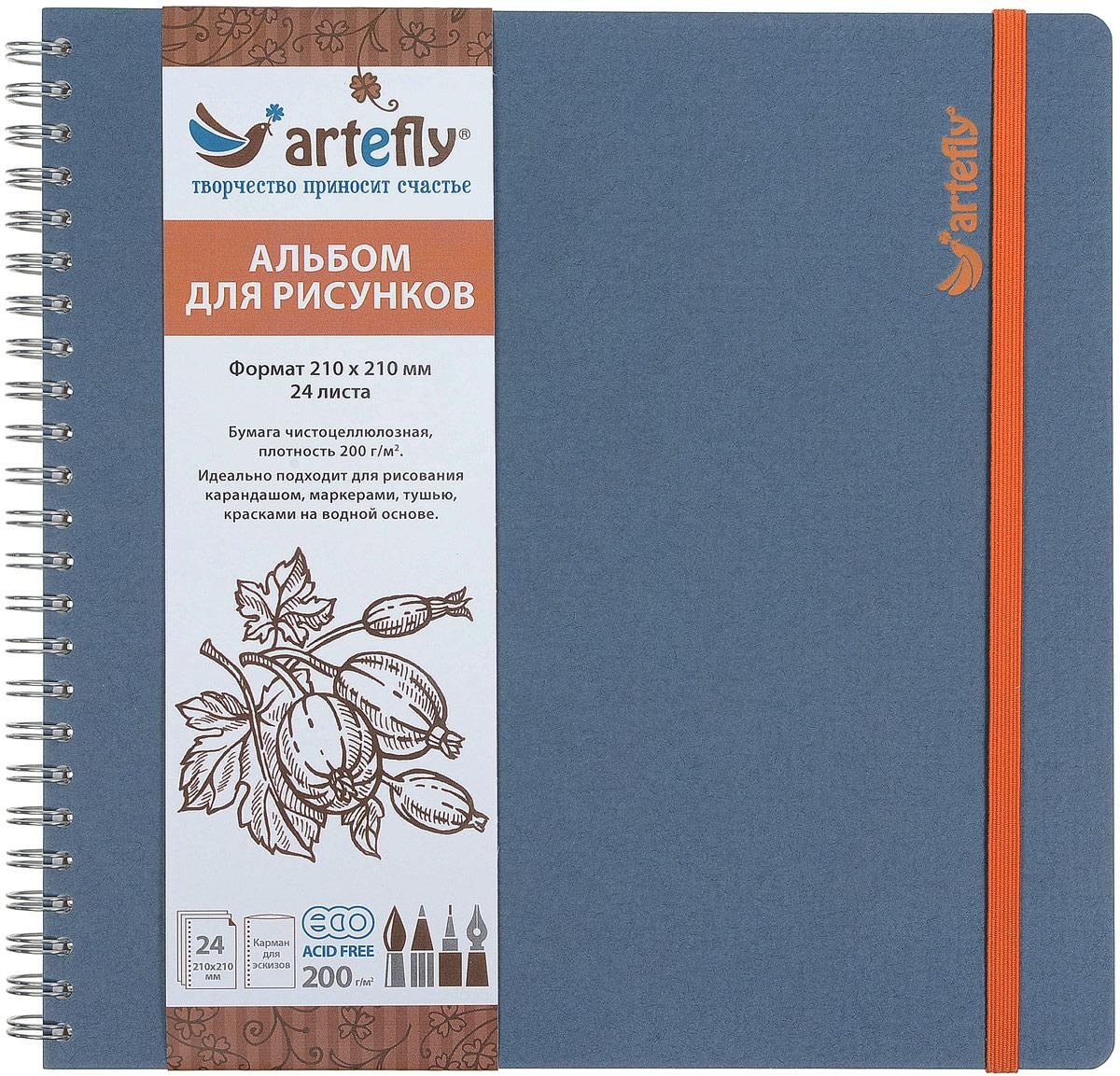 Artefly Альбом для рисования 24 листа цвет голубой AFNB-225772523WDАльбом Artefly идеально подходит для рисования в нем карандашом, маркерами, тушью, красками на водной основе. Внутренний блок включает 24 листа.Удобная эластичная застежка защитит вашу записную книжку. Переплет на спирали делает альбом еще более удобным и позволяет с легкостью переворачивать страницы. Имеется карман для эскизов.