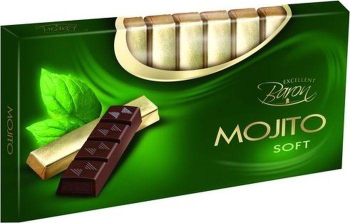 Baron Мохито темный шоколад с начинкой, 100 г0120710Тёмный шоколад с начинкой со вкусом Махито в стиках. Пищевая ценность в 100 г: углеводы - 52,0 г, в т.ч. сахар - 50,0 г, жиры - 34,0 г, в т.ч. насыщенных - 20,0 г, белки - 3,7 г.