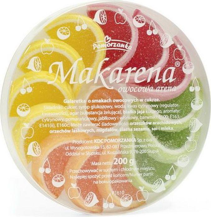 Pomorzanka Макарена мармеладные дольки, 200 г7.21.05Мармелад в виде фруктовых долек – это желейный резной мармелад, изготовленный из сахарного сиропа с патокой и ароматическими добавками, с использованием желирующих веществ. В наборе апельсиновые, лимонные, грейпфрутовые мармеладные дольки, имеющие вкус натуральных плодов. Пищевая ценность в 100 г: углеводы - 84,0 г, в т.ч. сахар -75,0 г, жиры -0,0 г, в т.ч. насыщенных - 0,0 г, белки - 0,2 г.