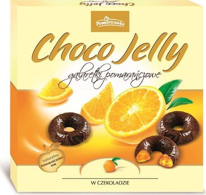 Pomorzanka Choco Jelly апельсиновое желе в темном шоколаде, 175 г0120710Апельсиновое желе в темном шоколаде - это маленькие изящные мармеладки, глазированные настоящим шоколадом, уложенные в элегантную коробку.Пищевая ценность в 100 г: углеводы - 74,0 г, из которых сахара - 64,0 г, жиры - 6,5 г, в т. ч. насыщенных - 4,1 г, белки - 1,0 г.
