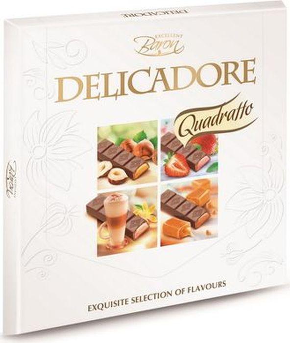 Baron Delicadore шоколадный набор, 200 г1093Вкуснейший порционный молочный шоколад с карамельнойначинкой, состоящий из 12 отдельно упакованных мини-стиков, обернутых в золотую фольгу. Мягкая карамель и вкусный европейский молочный шоколад в сочетании создают лакомство, которое оценят настоящие гурманы и любители сладкоежки.Элегантная теснёная упаковка порадует своим презентабельным видом и станет отличным решением, как для подарка, так и для повседневного употребления.