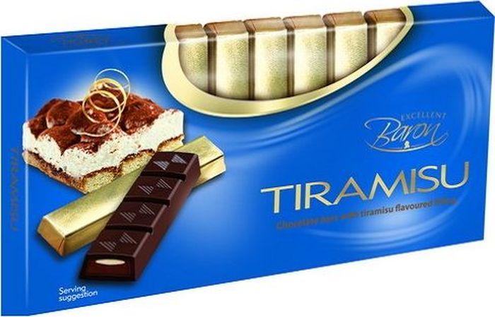 Baron Тирамису темный шоколад с начинкой, 100 г7.21.11Тёмный шоколад с начинкой со вкусом Тирамису в стиках.Пищевая ценность в 100 г: углеводы - 53,0 г, в т.ч. сахар - 51,0 г, жиры - 31,0 г, в т.ч. насыщенных - 18,0 г, белки - 4,0 г.