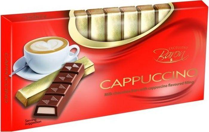 Baron Капучино молочный шоколад с начинкой, 100 г7.21.09Молочный шоколад с начинкой со вкусом Капучино в стиках.Пищевая ценность в 100 г: углеводы - 56,0 г, в т.ч. сахар - 55,0 г, жиры - 34,0 г, в т.ч. насыщенных -18,0 г, белки - 3,9 г.