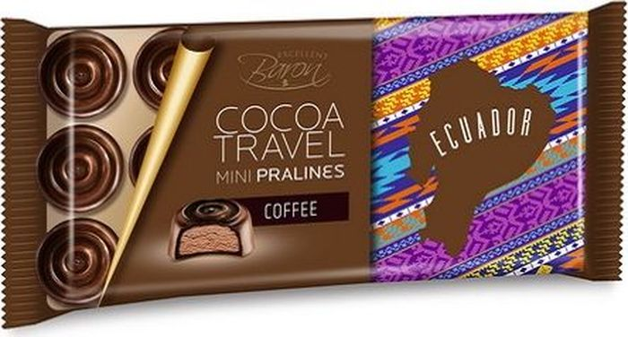 Baron Ecuador Конфеты из темного шоколада с кофейной начинкой, 100 г7.21.06Набор конфет из тёмного шоколада с кофейной начинкой.Пищевая ценность в 100 г: углеводы - 51,0 г, в т.ч. сахар - 49,0 г, жиры - 34,0 г, в т.ч. насыщенных - 20,0 г, белки - 4,4 г.