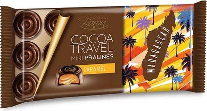 Baron Madagascar конфеты из темного шоколада с карамельной начинкой, 100 г0120710Набор конфет из тёмного шоколада с карамельной начинкой.Пищевая ценность в 100 г: углеводы - 56,0 г, в т.ч. сахар - 47,0 г, жиры - 24,0 г, в т.ч. насыщенных -15,0 г, белки - 4,0 г.