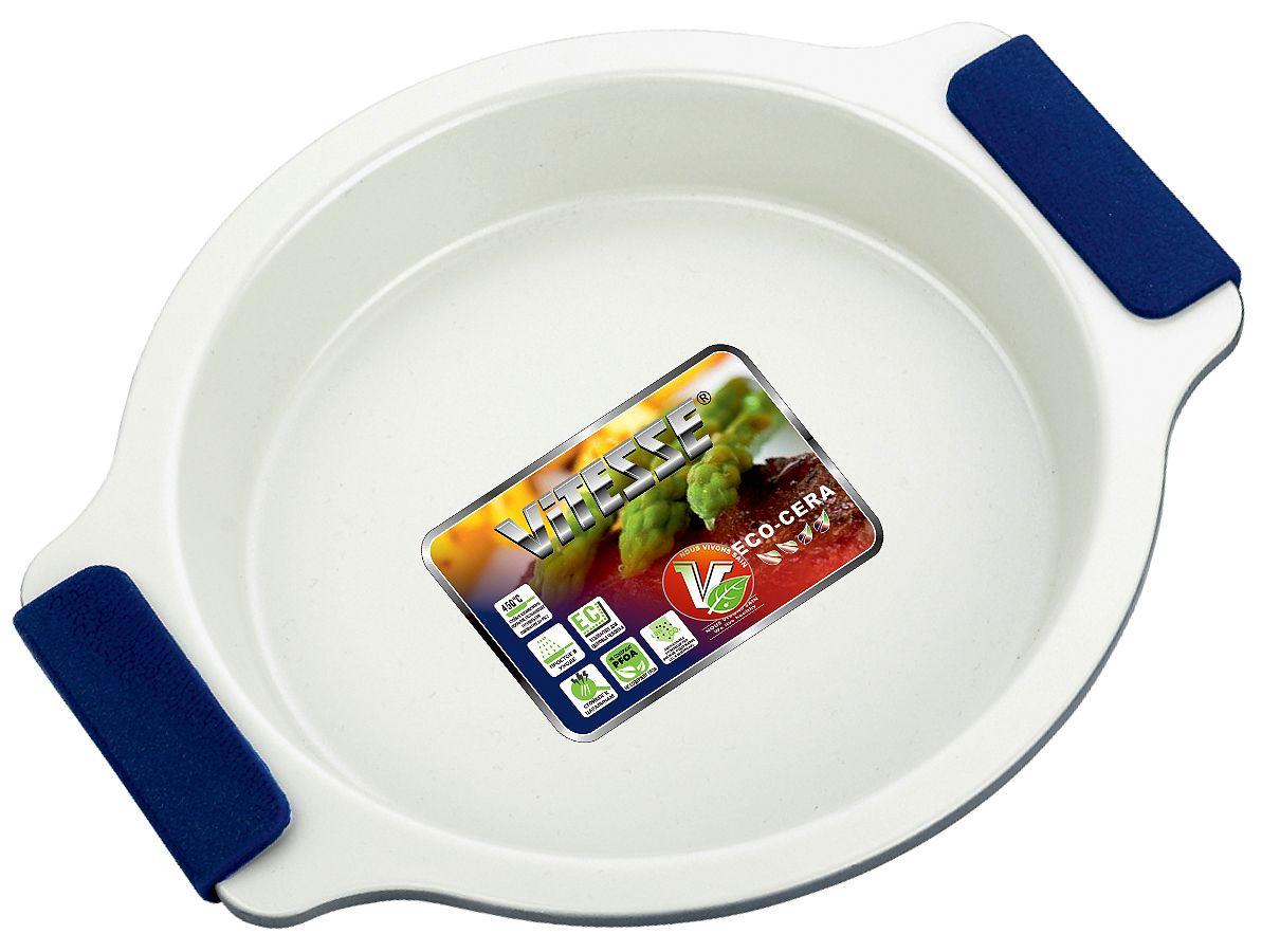 Форма для выпечки Vitesse, цвет: синий, диаметр 20 см. VS-196494672Круглая форма для выпечки Vitesse изготовлена из высококачественной углеродистой стали. Внутреннее керамическое покрытие Eco-Cera светло-серого цвета, позволяющее готовить при температуре 220°С, не оставляет послевкусия, делает возможным приготовление блюд без масла, сохраняет витамины и питательные вещества. Такое покрытие абсолютно безопасно для здоровья человека и окружающей среды, так как не содержит вредной примеси PFOA и имеет низкое содержание CO в выбросах при производстве. Керамическое покрытие обладает высокой прочностью и устойчивостью к царапинам. Кроме того, с таким покрытием пища не пригорает и не прилипает к стенкам. Готовить можно с минимальным количеством подсолнечного масла. Высокотехнологичное внешнее покрытие, подвергшееся температурной обработке, устойчиво к механическим повреждениям. Удобные ручки оснащены съемными силиконовыми вставками. Простая в уходе и долговечная в использовании форма Vitesse будет верной помощницей в создании ваших кулинарных шедевров.Можно мыть в посудомоечной машине и использовать в духовке. Не предназначена для СВЧ-печей. Характеристики:Материал: углеродистая сталь, силикон. Цвет: синий, светло-серый. Внутренний диаметр формы: 20 см. Размер формы (с учетом ручек): 26,5 см х 23 см. Высота стенки: 4 см. Толщина стенки: 0,6 см. Толщина дна: 0,6 см.