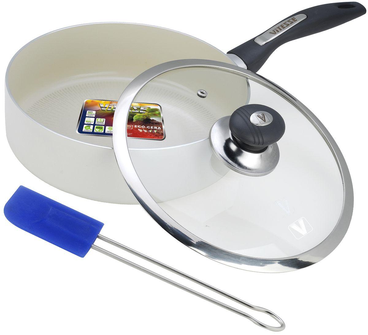 Сковорода Vitesse с крышкой, с антипригарным покрытием, с лопаткой. Диаметр 24 смVS-2202Сотейник Vitesse изготовлен из высококачественного литого алюминия с антипригарным покрытием. Изделие равномерно нагревается и быстро доводит блюда до готовности. Пища не пригорает и не липнет к поверхности, блюда получаются с аппетитной корочкой, ароматными и вкусными. Высокопрочные бакелитовые ручки не нагреваются во время готовки. Крышка выполнена из жаропрочного стекла, снабжена пластиковой ручкой, пароотводом и металлическим ободом. В комплект входит силиконовая лопатка.Изделие подходит для всех типов плит, кроме индукционных. Можно мыть в посудомоечной машине. Диаметр (по верхнему краю): 24 см. Высота стенки: 6,5 см. Толщина стенки: 2,5 мм. Толщина дна: 2,5 мм. Длина ручки: 19 см.Размер лопатки: 25,5 см.Размер рабочей части лопатки: 5 х 1 см.