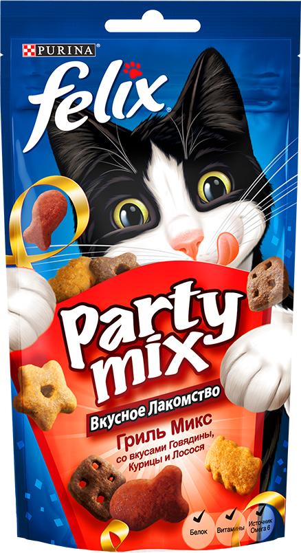 Лакомство для кошек Felix Party Mix Гриль микс, cо вкусами говядины, курицы и лосося, 60 г0120710Вкусное лакомство Felix Party Mix Гриль Микс со вкусами говядины, курицы и лосося - это дополнение к ежедневному рациону, с помощью которого вы можете баловать вашего питомца, когда вам этого хочется. В каждой упаковке вы найдете удивительное сочетание ароматных гранул с восхитительным вкусом и аппетитной текстурой! И это еще не все! Вкусное Лакомство содержит белок, витамины и Омега 6 жирные кислоты для того, чтобы помочь вашему питомцу быть счастливым и здоровым. Рекомендации по кормлению: Ежедневная норма кормления для взрослой кошки весом 4 кг: до 15г или примерно до 40 гранул. Обычный ежедневный рацион желательно корректировать в соответствии с количеством используемого лакомства. Свежая питьевая вода всегда должна быть доступна для вашей кошки. Присутствуйте рядом с Вашим питомцем во время кормления Вкусным Лакомством. Состав: мясо и продукты его переработки (35%)*, злаки, жиры и масла, растительный белок, минеральные вещества, различные сахара, дрожжи, рыба и продукты ее переработки (1%)**, консерванты, красители, витамины и антиоксиданты. (*Эквивалентно 50% восстановленного мяса и продуктов его переработки, мин. содержание мяса - 26%, говядины - 0.5%, курицы - 0.5%), (**Эквивалентно 2% восстановленной рыбы и продуктов ее переработки, из которых содержание лосося - 0.5%).Добавленные вещества: МЕ/кг: Витамин А: 31 700; Витамин Д: 1 000; Витамин Е: 170; МГ/кг: Железо: 75; Йод: 1.9; Медь: 12; Марганец: 36; Цинк: 140; Селен: 0.12. Гарантируемые показатели: Белок 35.0%; Жир 20.0%; Сырая зола 8.5%; Сырая клетчатка 0.5%; Линолевая кислота (Омега 6) 26 900 мг/кг. Товар сертифицирован.