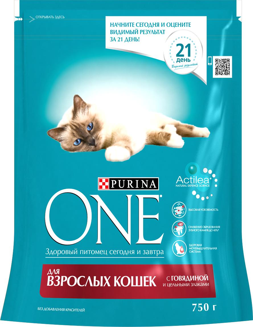 Корм сухой Purina One для взрослых кошек, с говядиной и цельными злаками, 750 г корм для чувствительных кошек purina one