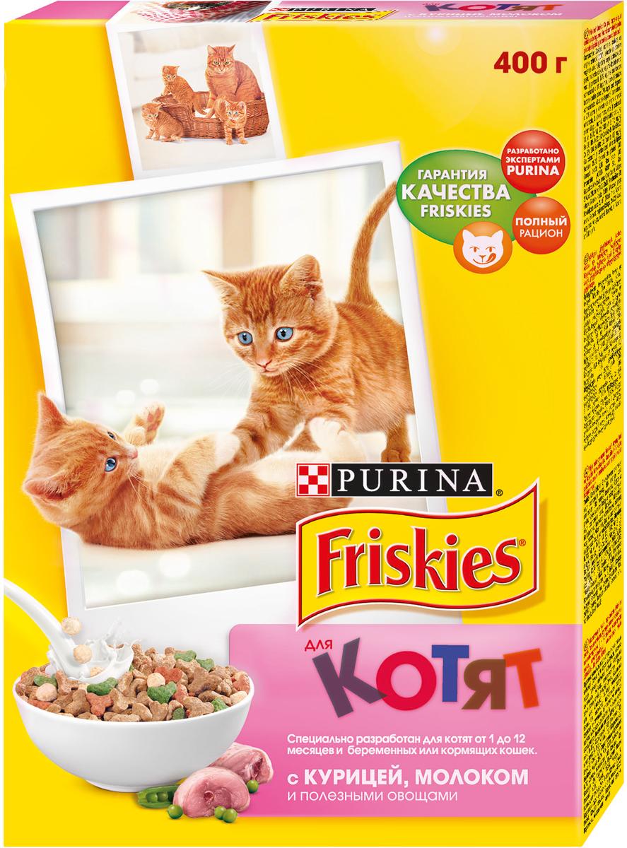 Корм сухой для котят Friskies, с курицей, молоком и полезными овощами, 400 г0120710Полнорационное и вкусное питание Friskies, изготовленное из ингредиентов высокого качества, предназначено для котят от 1 до 12 месяцев и беременных или кормящих кошек. Корм разработан экспертами Nestle Purina Petcare на базе 85-летнего опыта в области питания для животных. Ваш котенок, как и ребенок, нуждается в особой заботе, чтобы расти здоровым и счастливым. Дайте вашему котёнку правильный старт в жизни. Friskies для котят - полнорационное и сбалансированное питание, приготовленное из курицы с высоким содержанием злаков. Специальный рецепт обеспечивает вашего любимца всеми необходимыми питательными веществами, витаминами и минеральными веществами, которые ему необходимы для успешного перехода от молока матери к взрослой пище. Вещества, содержащиеся в корме: - Таурин важен для здорового сердца и хорошего зрения. - Белок необходим для здорового роста и развития. - Витамин Е для поддержания сильного иммунитета. - Необходимые минеральные вещества и витамин D для крепких костей и зубов. Состав: злаки, растительный белок, мясо и продукты его переработки (в том числе курица), продукты переработки овощей, жиры и масла, дрожжи, рыба и продукты ее переработки (в том числе тунец), витамины, минеральные вещества, консерванты, овощи (сушеный зеленый горох), молоко и продукты переработки (обезжиренное сухое молоко), красители и антиоксиданты.Добавленные вещества: витамин А - 16000 МЕ/кг, витамин Д3 - 1300 МЕ/кг, витамин Е - 115 МЕ/кг, железо - 64 мг/кг, йод - 2,1 мг/кг, медь - 12,0 мг/кг, марганец - 6,9 мг/кг, цинк - 90,0 мг/кг, селен - 0,14 мг/кг. Гарантируемые показатели: белок - 35,0%, жир - 12,0%, сырая зола - 8,0%, сырая клетчатка - 2,0%, кальций - 1,4%, фосфор - 1,3%, таурин - 0,11%. Товар сертифицирован.