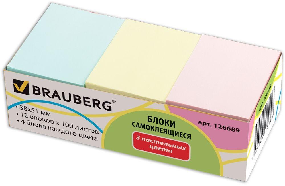 Brauberg Бумага для заметок с липким слоем 3,8 х 5,1 см 12 шт по 100 листов -  Бумага для заметок, стикеры, закладки