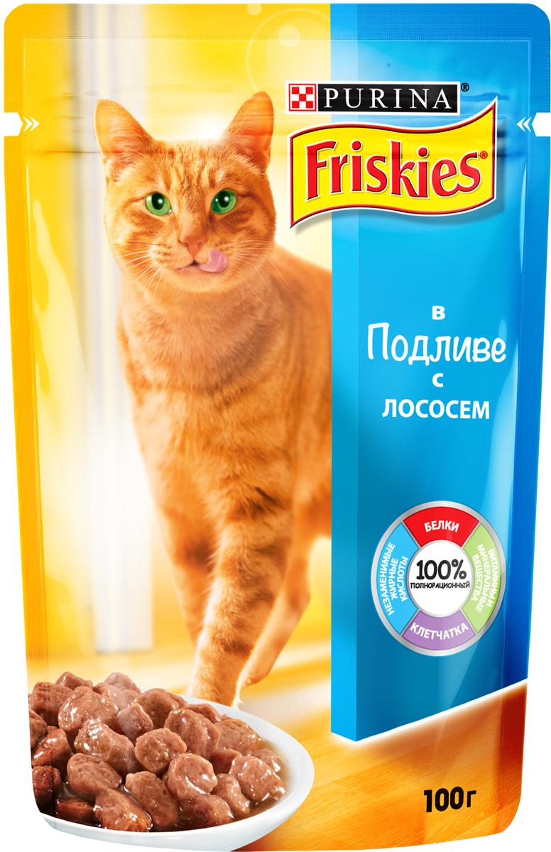 Консервы для кошек Friskies, с лососем в подливе, 100 г12239320Консервированный корм для кошек Friskies является полнорационным и сбалансированным питанием с белком, минеральными веществами, таурином и Омега 6 жирными кислотами - всё, что необходимо Вашей кошке каждыйдень. Состав: мясо и продукты его переработки (20%), злаки, рыба и продукты её переработки (4% лосось), минеральные вещества, сахара, витамины. Добавленные вещества: Витамины (МЕ/кг): витамин А 660; витамин D3 100. Минеральные вещества (мг/кг): железо 23; йод 0,29; медь 2,6; марганец 4,5; цинк 37, таурин 420. Гарантированные показатели: влажность 82,5%, белок 7,0%, жир 3,0%, сырая зола 1,9%, сырая клетчатка 0,2%, линолевая кислота (Омега 6 жирные кислоты) 0,4%.Товар сертифицирован.
