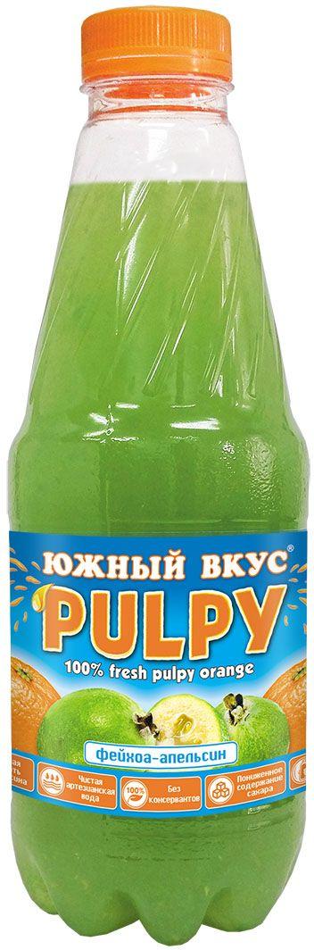 Южный вкус Pulpy напиток фейхоа, апельсин, 920 мл0120710Южный Вкус PULPY освежит, наполнит жизненной энергией, утолит жажду и укротит голод, ведь в нем так много натуральных частичек солнечного апельсина!