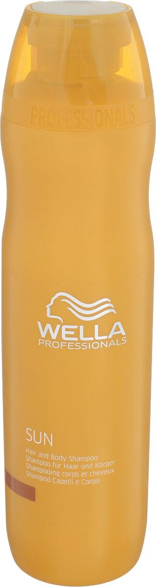 Wella Шампунь для волос и тела Sun, 250 мл72523WDШампунь для волос и тела из серии Wella SUN с витамином Е применяется после пребывания на солнце, он мягко очищает волосы и кожу от солнцезащитных средств, соленой воды, увлажняет, придает ощущение бодрости, а также соблазнительный блеск вашим локонам.