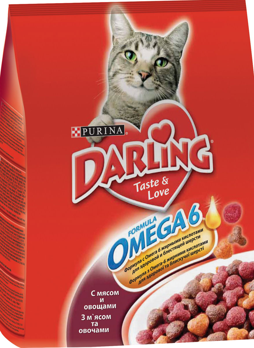 Корм сухой Darling для кошек, с мясом и овощами, 2 кг70009744Корм сухой Darling разработан специально для взрослых кошек. Изготовленный с птицей или мясом, он помогает поддерживать здоровую, блестящую, приятную на ощупь шерсть вашего питомца. Состав: злаки и продукты переработки злаков, продукты переработки мяса и мясных субпродуктов (минимум 4% мясо птицы), животный жир, соевая мука, вкусоароматическая кормовая добавка, продукты переработки овощей (минимум 0,5%), минеральные вещества, регулятор кислотности, антиокислитель, красители, консерванты. Анализ: сырой белок 27,0 г, влажность 8,0 г, сырой жир 7,0 г, сырая зола 7,0 г, сырая клетчатка 2,5 г, кальция 1,4 г, медь 1,7 мг, фосфор 1,4 г, железо 17 мг, калий 0,8 г, марганец 4,0 мг, натрий 0,2 г, цинк 18 мг, магний 0,17 г, селен 32 мкг, линоленовая кислота 0,2 г, линолевая кислота 2,3 г, витамин А 850 МЕ, витамин D 85 МЕ, витамин Е 7,5 мг, витамины группы В 170 мг.Товар сертифицирован.