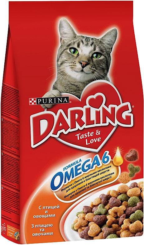 Корм сухой Darling для кошек, с птицей и овощами, 2 кг0120710Новый корм для кошек Darling с омега жирными кислотами обеспечивает превосходное качество питания вашей кошки и помогает поддерживать здоровую, блестящую и приятную на ощупь шерсть вашего питомца.Состав: злаки и продукты переработки злаков, продукты переработки мяса и и мясных субпродуктов (минимум 4% мясо птицы), животный жир, соевая мука, вкусоароматическая кормовая добавка, продукты переработки овощей (минимум 0,5%), антиокислитель, красители, консерванты.Пищевая ценность: сырой белок 27,0 г, влажность 8,0 г, сырой жир 7,0 г, сырая зола 7,0 г, сырая клетчатка 2,5 г, кальция 1,4 г, медь 1,7 мг, фосфор 1,4 г, железо 17 мг, калий 0,8 г, марганец 4,0 мг, натрий 0,2 г, цинк 18 мг, магний 0,17 г, селен 32 мкг, линоленовая кислота 0,2 г, линолевая кислота 2,3 г, витамин А 850 МЕ, витамин D 85 МЕ, витамин Е 7,5 мг, витамины группы В 170 мг.Вес: 2 кг.