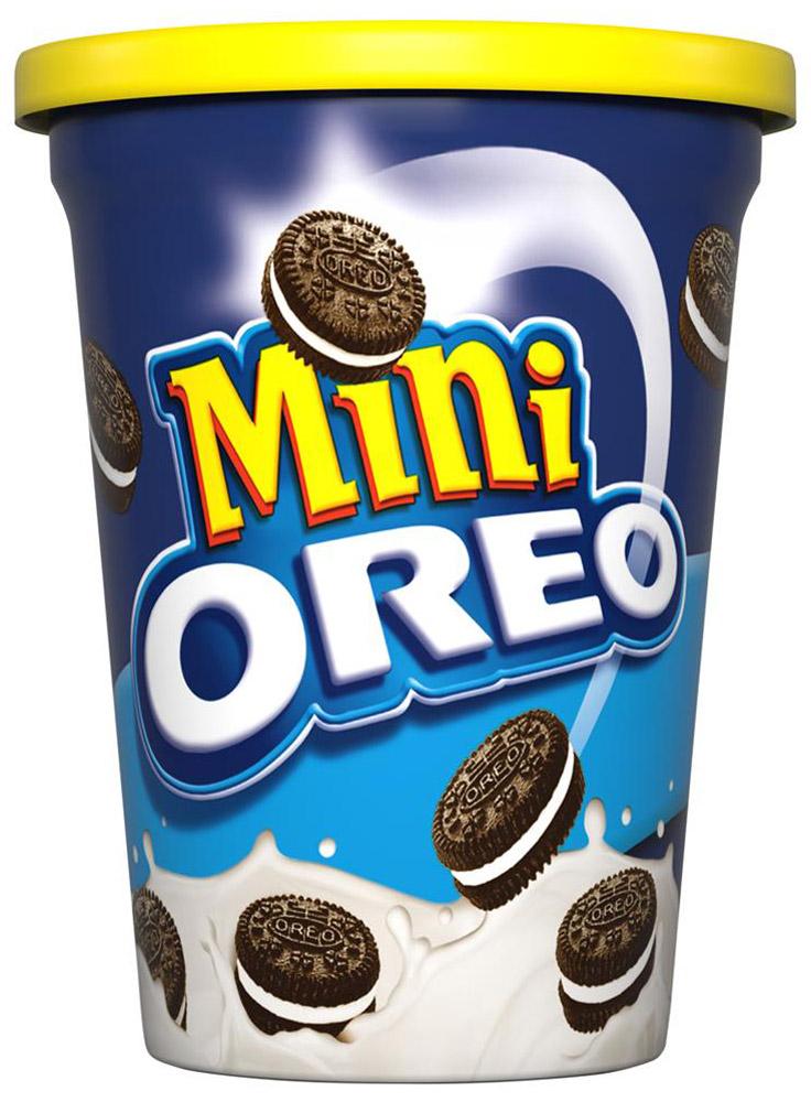 Oreo mini, сладкое сухое печенье-сэндвич, 115 г0120710Oreo Mini- маленькие печеньки орео, классические шоколадные диски с нежным кремом в стаканчике!Теперь Орео удобно брать с собой, а маленькие печеньки так удобно есть, доставая их из пластикового стакана! Отличное решение для тех, кто не сидит на месте!