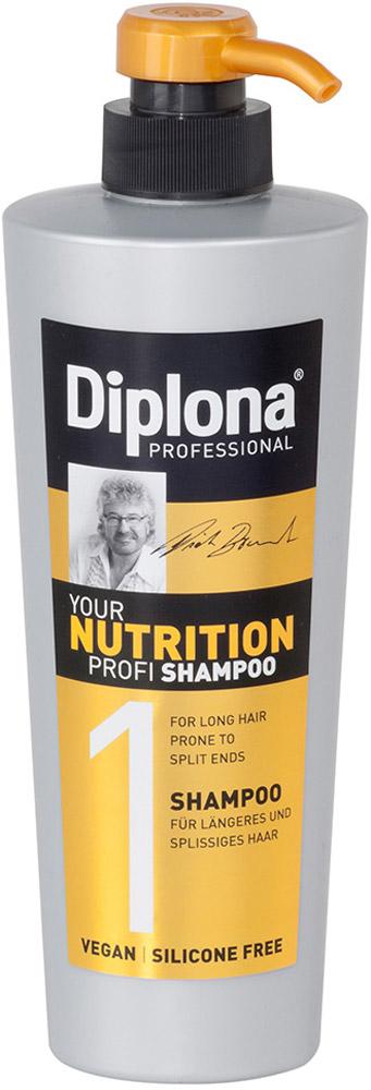 Шампунь Diplona Professional Your Nutrition Profi, для длинных, секущихся волос, 600 млFS-36054Шампунь Diplona Professional Your Nutrition Profi - питательный уход для длинных, секущихся волос. Основные компоненты: Пантенол - помогает восстановить поврежденные волосяные луковицы и секущиеся концы волос. Масло Ши - имеет схожий с липидами волос состав, поэтому легко заполняет образовавшиеся в кутикуле трещины, восстанавливая ее структуру и возвращая волосам силу. Обладает смягчающими, увлажняющими и регенерирующими свойствами. Протеины пшеницы - обладает увлажняющими, восстанавливающими свойствами, усиливает естественные функции кожи, в том числе активизируют механизмы защиты. Витамин В3 - благодаря своему сосудорасширяющему действию позволяет облегчить проникновение активных веществ в кожный сосочек, что благоприятно влияет на рост волос. Характеристики: Объем: 600 мл. Производитель: Германия. Артикул: 95174.Diplona Professionalсуществует на немецком рынке более 40 лет, была разработана совместно с лучшим стилистом, неоднократным победителем конкурсов парикмахерского искусства Германии и основателем немецких салонов красоты с 60-летней историей Дитером Брюннетом.Товар сертифицирован.Уважаемые клиенты!Обращаем ваше внимание на возможные изменения в дизайне упаковки. Качественные характеристики товара остаются неизменными. Поставка осуществляется в зависимости от наличия на складе.