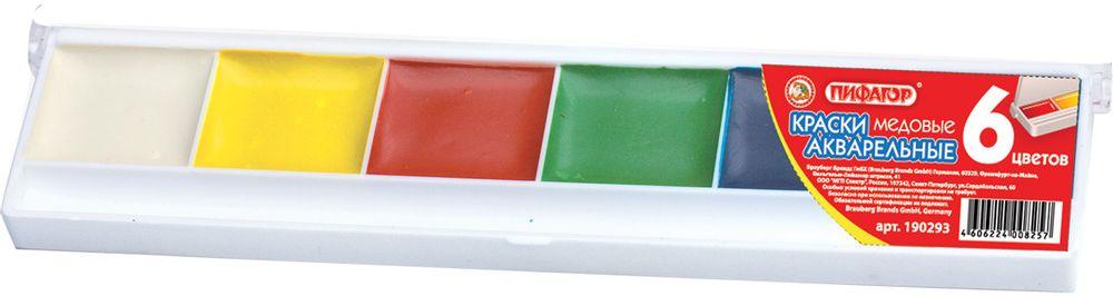 Пифагор Акварель 6 цветовFS-00103Краски акварельные Пифагор характеризуются яркими сочными цветами и удобной упаковкой. Краски изготовлены с добавлением натуральной патоки и пчелиного меда.•6 цветов: белый, черный, голубой, красный, желтый, светлая зелень. •Без кисти. •Упакованы в компактную пластиковую коробку.