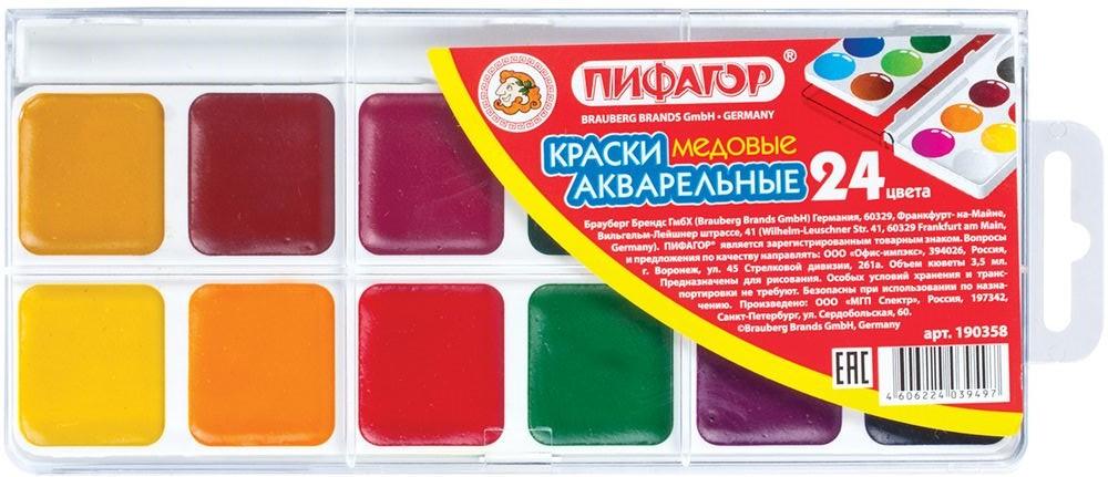 Пифагор Акварель 24 цветаFS-36054Краски акварельные Пифагор характеризуются яркими сочными цветами и удобной упаковкой. Краски изготовлены с добавлением натуральной патоки и пчелиного меда.•24 цвета: белый, черный, голубой, красный, желтый, светлая зелень, •охра, коричневый, зеленый, ультрамарин, рубин, оранжевый, лимонный, •железно-окисный, золотистый, охра красная, малиновый, бордо, •сиреневый, фиолетовый, травянистый, изумрудный. •Без кисти. •Упакованы в пластиковую коробку с европодвесом.