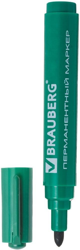 Brauberg Маркер перманентный Classic цвет зеленый0775B001Маркер предназначен для письма на любой поверхности. Фетровый наконечник характеризуется повышенной износостойкостью.Ширина линии письма - 3 мм. Круглый наконечник. Цвет - зеленый. Водостойкие чернила. Для письма на любой поверхности. Нестираемый.