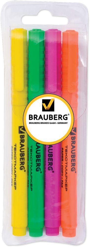 Brauberg Набор маркеров Fluo 4 цвета150416Набор маркеров Brauberg Fluo предназначены для выделения текста на обычной бумаге, бумаги для факсов и бумаге для копировальных машин. Яркие, светоустойчивые чернила. Скошенный наконечник.Ширина линии письма - 1-3 мм. В наборе 4 цвета - зеленый, лимонный, розовый, оранжевый. Корпус соответствует цвету чернил.