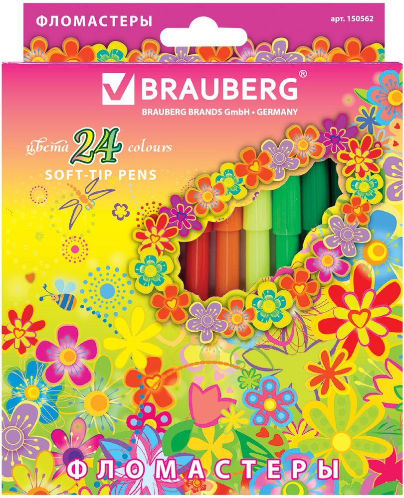Brauberg Набор фломастеров Blooming flowers 24 цвета -  Фломастеры