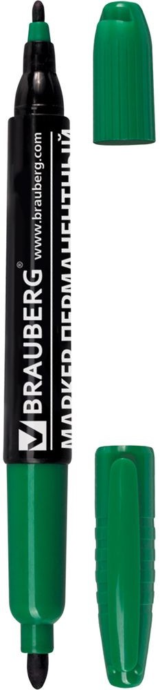 Brauberg Маркер перманентный двусторонний цвет зеленый150394Перманентный маркер Brauberg предназначен для письма на любой поверхности. На противоположных концах корпуса имеет два износостойких круглых фетровых наконечника толщиной 2 и 4 мм, что обеспечивает удобство применения маркера для любых целей.Заправлен водостойкими чернилами.