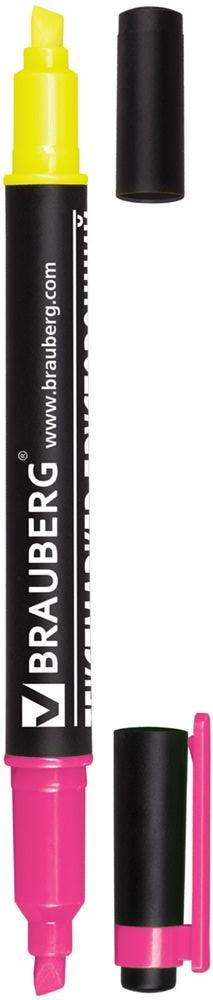 Brauberg Маркер двусторонний цвет лимонный розовый150840Двусторонний маркер Brauberg предназначен для выделения текста на бумаге любого типа, включая факс-бумагу. Светостойкие чернила незаметны при передаче текста по факсу.Маркер имеет два скошенных наконечника на противоположных концах корпуса, подающие чернила двух разных цветов.Толщина линии - 1-4 мм.