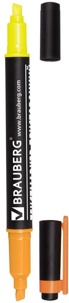 Brauberg Маркер двусторонний цвет лимонный оранжевый150843Двусторонний маркер Brauberg предназначен для выделения текста на бумаге любого типа, включая факс-бумагу. Светостойкие чернила незаметны при передаче текста по факсу.Маркер имеет два скошенных наконечника на противоположных концах корпуса, подающие чернила двух разных цветов.Толщина линии - 1-4 мм.