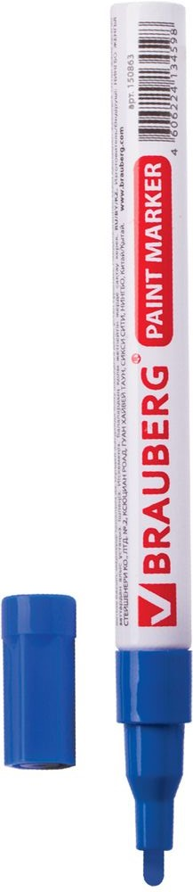 Brauberg Маркер-краска цвет синий 15086472523WDМаркер Brauberg предназначен для маркировки различных материалов впромышленных условиях: бетона, дерева, стекла, металла, резины, пластика. Пишет по сухим,влажным, жирным, грязным, ржавым поверхностям.Корпус выполнен из алюминия.Заправлен высококачественными стойкими чернилами с лаковым эффектом. Чернила отличаются термо- и водостойкостью, устойчивы к выцветанию.Ширина линии письма - 1-2 мм.Рабочий температурный диапазон - от - 15° С до +60° С.