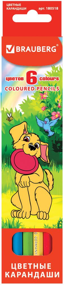 Brauberg Набор цветных карандашей My Lovely Dogs 6 цветовC13S041944В наборе 6 карандашей насыщенных цветов. Изготовлены из древесины ценных пород и оснащены мягким грифелем. Забавные щенки, изображенные на коробке с подвесом, пользуются неизменной любовью у детей дошкольного и младшего школьного возраста.6 цветов. Диаметр грифеля - 3 мм. Высокосортная древесина. Шестигранный корпус. Легко затачиваются. Упаковка - картонная, с европодвесом.