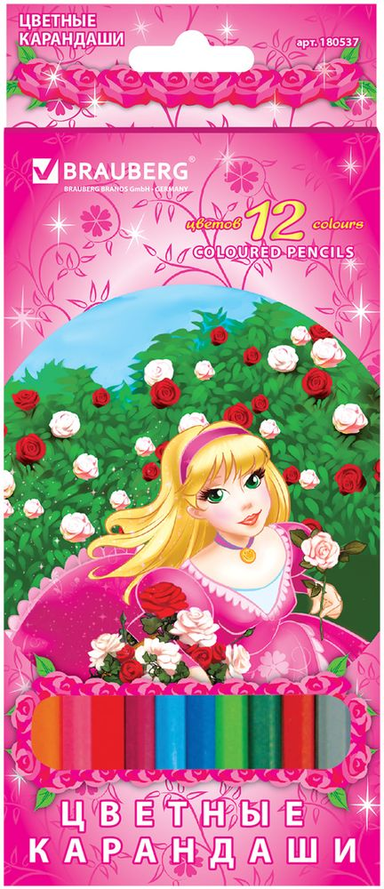 Brauberg Набор цветных карандашей Rose Angel 12 цветов 1805370703415В наборе 12 карандашей, изготовленных из древесины ценных пород. Благодаря высококачественному грифелю, рисунок ляжет на бумагу сплошной и четкой линией. Милая принцесса, изображенная на коробке, обязательно понравится юным творческим особам.12 цветов. Диаметр грифеля - 3 мм. Высокосортная древесина. Шестигранный корпус. Легко затачиваются. Картонная упаковка с европодвесом.