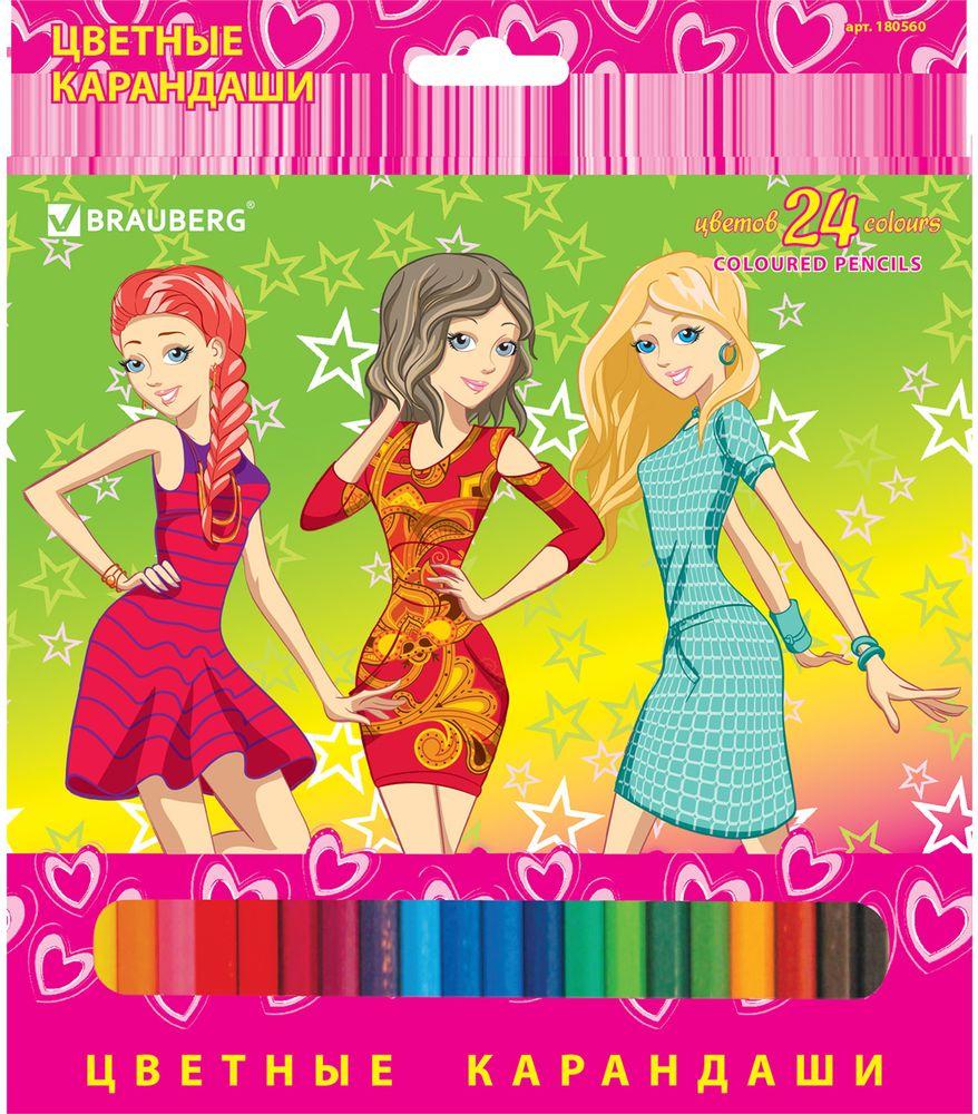 Brauberg Набор цветных карандашей Pretty Girls 24 цвета72523WDВ наборе 24 карандаша, изготовленных из древесины ценных пород. Благодаря высококачественному грифелю, рисунок ляжет на бумагу густо, сплошной и четкой линией, при этом не крошась и не царапая бумагу. Изображение на упаковке имеет отделку блестками.24 цвета. Грифель высокого качества, диаметр 3 мм. Высокосортная древесина. Шестигранная форма корпуса. Легко затачиваются. Картонная упаковка с европодвесом и отделкой блестками.