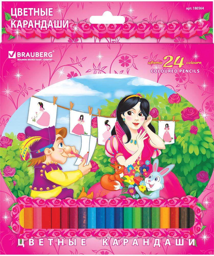 Brauberg Набор цветных карандашей Rose Angel 24 цвета180564В набор Brauberg Rose Angel входят 24 карандаша, изготовленных из высокосортной древесины.Карандаши имеют шестигранный корпус и грифель высокого качества, благодаря которому штрихи мягко и ровно ложатся на бумагу.Легко затачиваются.