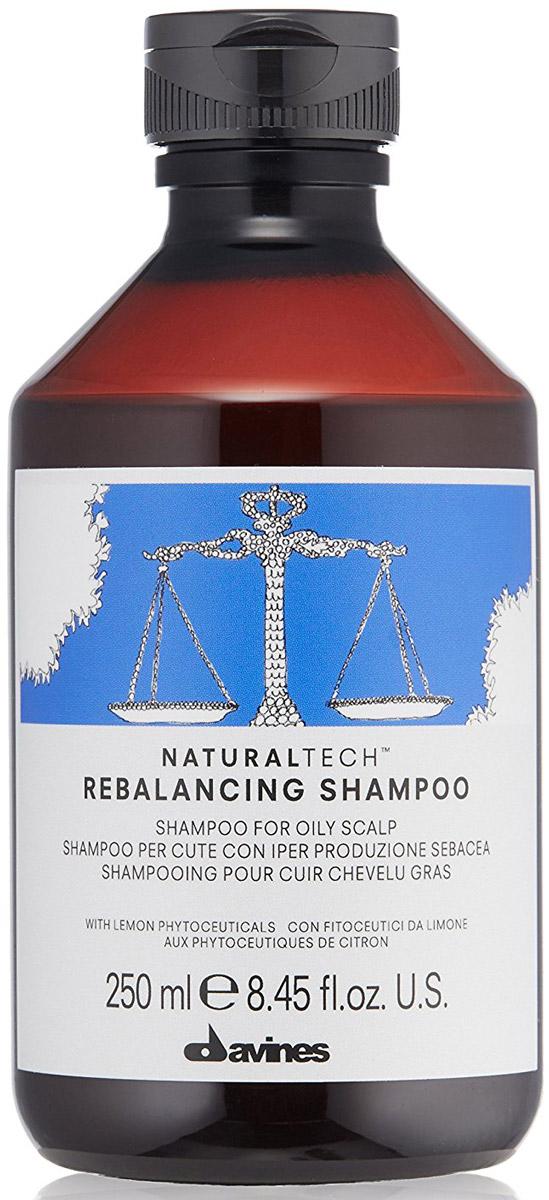 Davines Балансирующий шампунь New Natural Tech Rebalancing Shampoo, 250 мл 71265AC-1121RDБалансирующий шампунь Davines New Natural Tech Rebalancing Shampoo - это шампунь, нормализующий работу сальных желез и стабилизирующий производство кожного сала. Содержит фитоактивы, извлеченные из лимона, богатые полифенолами, углеводами и сахарами с сильным противовоспалительным действием. Обогащен экстрактами кровохлебки, имбиря и корицы, которые эффективно очищают кожу головы и снижают активность сальных желез и эфирными маслами ромашки, кедра и японского зеленого чая, обладающими успокаивающим, седативным и противовоспалительным действием.рН шампуня - 5,5.Товар сертифицирован.