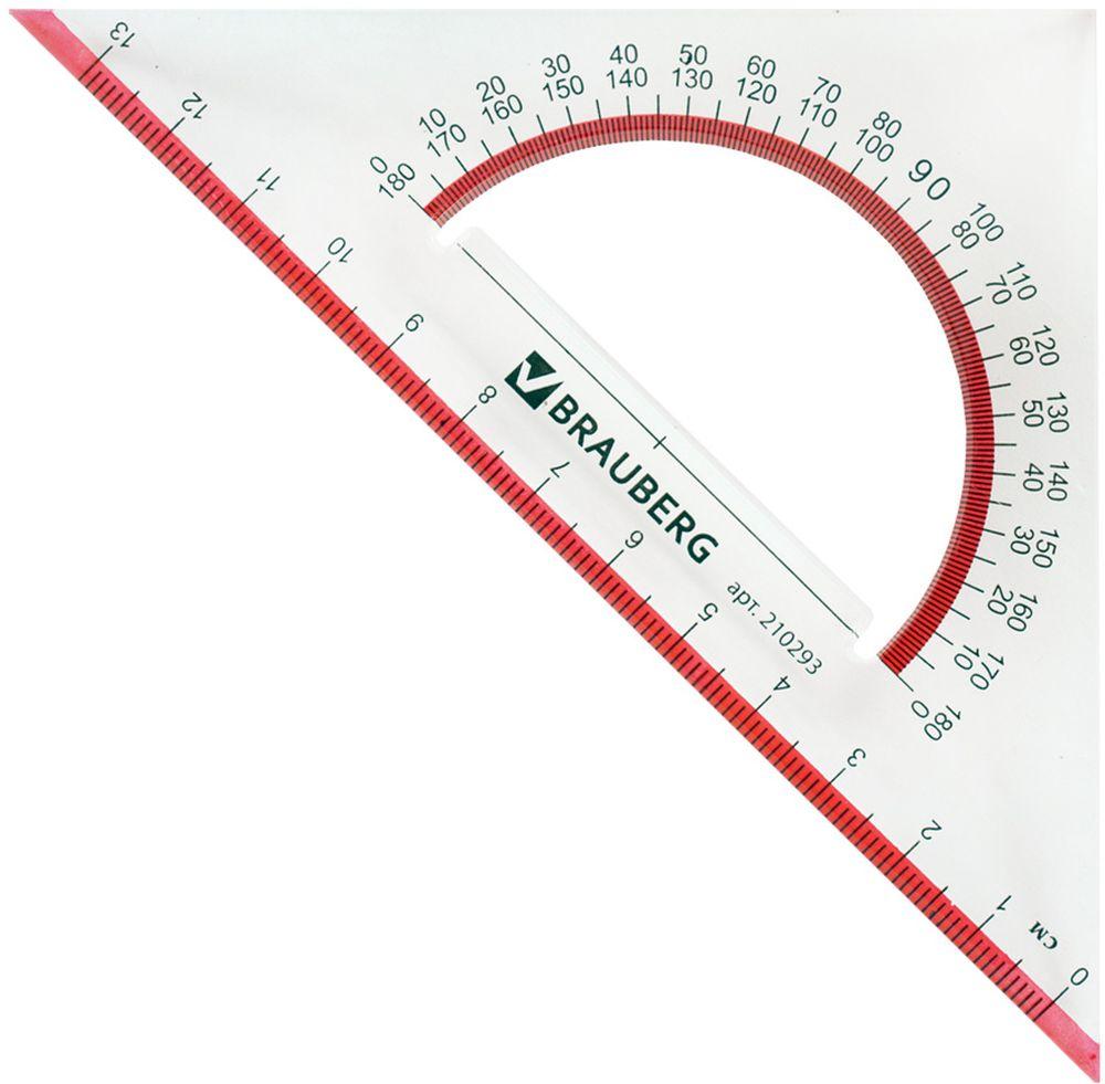 Brauberg Треугольник Сrystal 45 градусов 13 см210293Прозрачный треугольник Brauberg с транспортиром, с выделенными шкалами из прочного пластика. Имеет четкие, контрастные шкалы делений. Предназначен для чертёжных работ.— Шкала - 13 см.— Углы - 45°/45°.— Транспортир - 180°.— Толщина пластика - 2,3 мм.— Прозрачный.